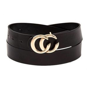 Black Vegan Leather Belt Double C Buckle Skinny